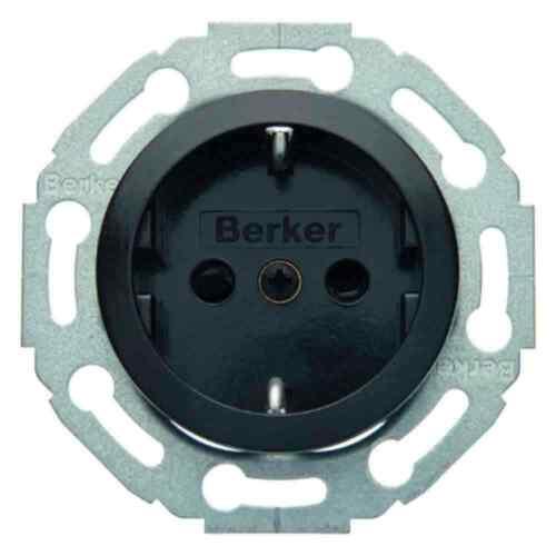 BERKER 1930//verre Schuko Prise De Courant 1 positions noir réservoir ip20 474521 montage