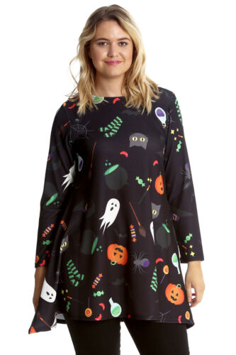 New Womens Plus Size Swing Top Ladies Halloween Ghost Broom Pumpkin Nouvelle