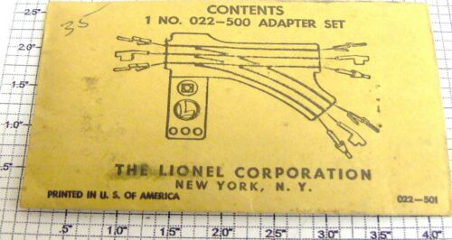 Lionel O22-500 O22 Switch Super O Pin Adapter Set in Envelope