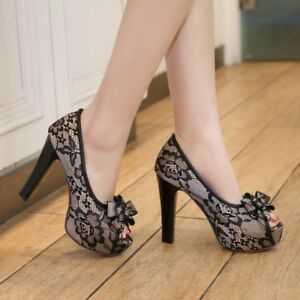 Womens-High-Heels-Platform-Slip-On-Knot-Peep-Toe-Party-Lace-Shoes-Prom-Sandals