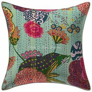 Indian-Cotton-Sofa-Decorative-Pillows-Teal-Blue-Kantha-Tropicana-Cushion-Cover