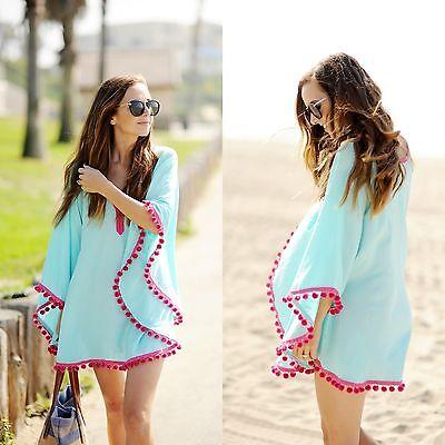 Boho Beachwear Sexy Summer Swimwear Cover Up Bikini Mini Dress Kaftan Loose Tops