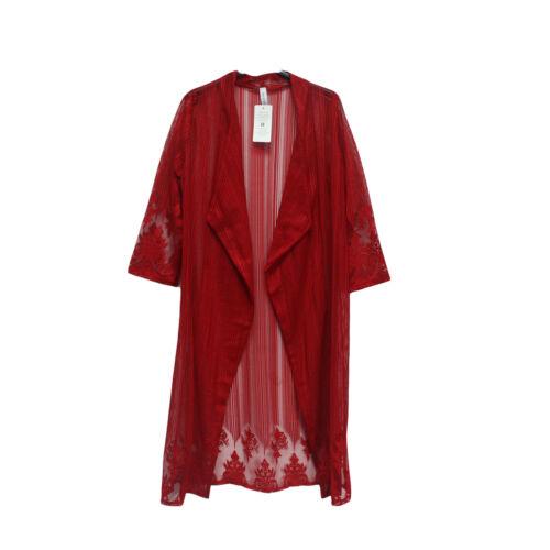 Femmes Kimono Voir à Travers Floral Crochet Lace Open Front tenue cardigan