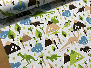 Dinosaurs-Trees-Kids-Cotton-Curtain-Fabric-Upholstery-Quilting-Cushions-Crafts