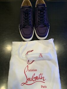 reputable site 87508 d9868 Details about Christian Louboutin Mens Rantulow Orlato Flat Satingg Blue  Size 44 Worn Once