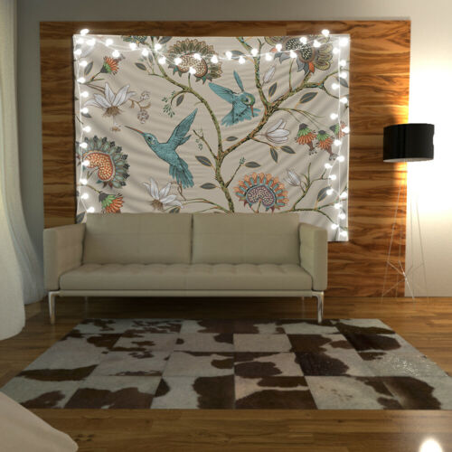 bird flower Wandteppich Kunst Wandbehang Tisch Bettdecke Wohnkultur