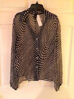 Carole Little Blouse Size Medium Sheer Black Top Silk Long Sleeve L/s