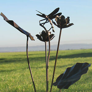 Image Is Loading Handcrafted Metal Rustic Dragonfly Garden Stake  Ornament Sculpture