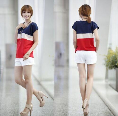 New Fashion Women Summer Top Half Sleeve Chiffon Blouse T Shirt Top Size S M L