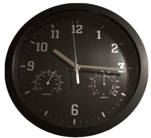 Horloge noir avec thermomètre et hygromètre diamètre 25 cm