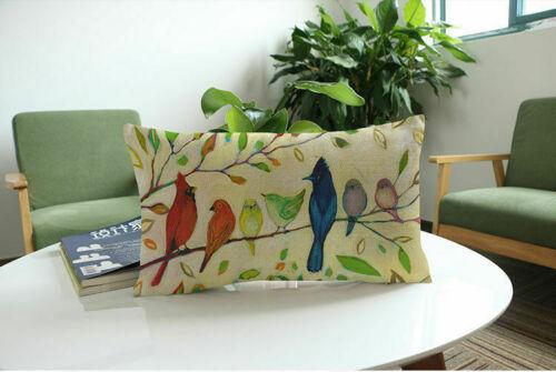New Creative Cushion Decor Cover Patern Bird Flower Rectangular Pillow Home Case