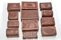 12 Pcs Handmade Rosewood Hand Carved Wood Chest Jewelry Box F-290