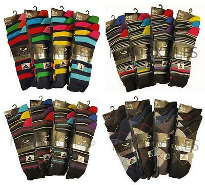 12 Pairs Of Men's Designer Socks, Cotton Rich Design Socks, Size 6-11 High Quality Materials