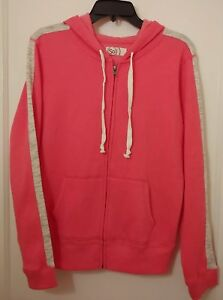 Junior-039-s-SO-Hoodie-Size-L-Full-Zip-Pink-with-Gray-sleeve-insets-Pockets