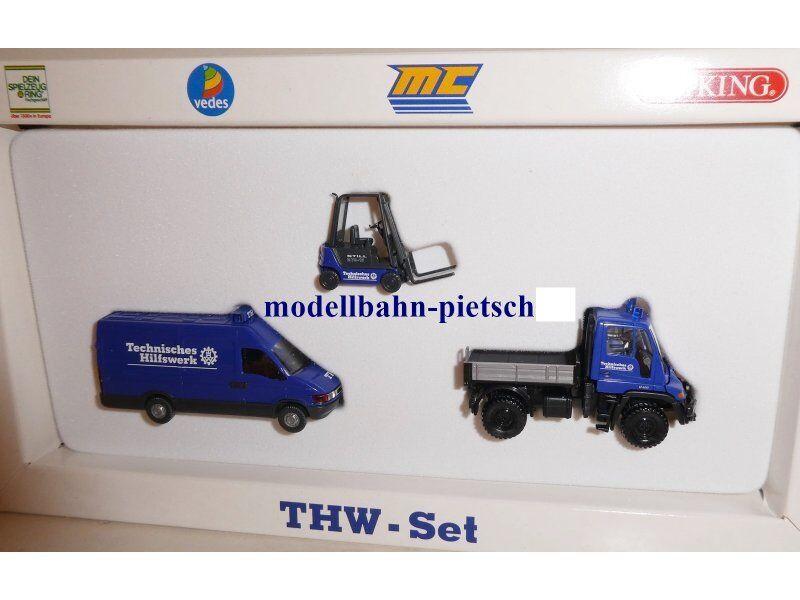 Wiking 990 23 THW-Set Gabelstapler + MB Unimog + Iveco ( 99023 ) , neu, OVP,1 87