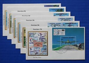 "Marshall Islands (114; C3-C6) 1986 AMERIPEX '86 Colorano ""Silk"" FDCs"