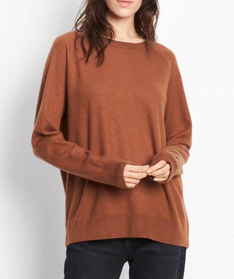 NWT Vince  320 100% Cashmere Raglan Crew Sweater in in in Rust; M 6d3841