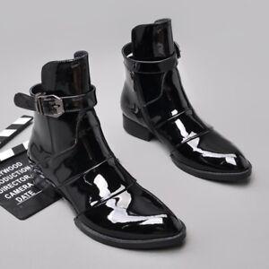 US6-10.5 мужские лакированные лодыжки пряжки, ремень ботинки рок панк мальчик повседневная обувь