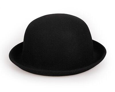 Unisex Kids Wool Felt Bowler Top Derby Hats Cloche Caps Girls Roller Up Brim