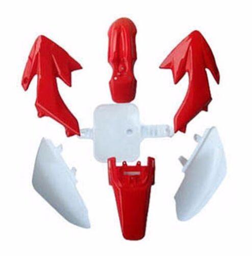 Red Plastics Fender// Sticker Kit// Tall Flat Seat for SSR CRF50 Pit Dirt Bike Pro