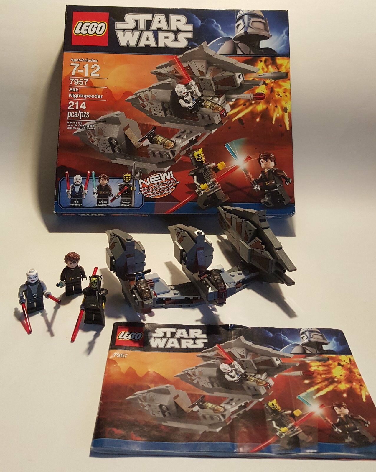 Lego Star Wars  7957 Sith Nightspeeder 214 pcs, ages 7-12, 100% complete
