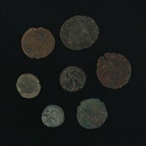 Mezcladas Antiguo Monedas Lote De 7 Figural Romano Artifacts