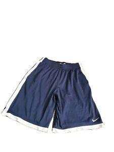 Nike-Mens-Large-Basketball-Shorts-Athletic-Mesh-Navy-Blue-w-White-Trim-Pockets