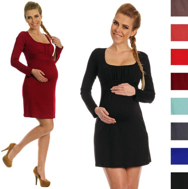 Happy Mama. Women's Maternity Jersey Dress Long Sleeve Square Neck. 931p