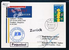 72639) LH FF A340 Frankfurt - Bangalore Indien 1.9.2001, Kte Schweden SP Kiel