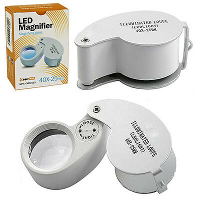 NEW 40X POCKET MAGNIFIER MAGNIFYING JEWELLER LOUPE LENS EYE GLASS WITH LED LIGHT