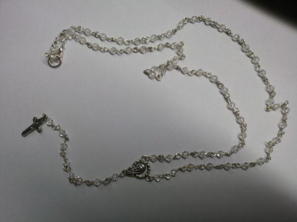1 Collana Rosario Religioso Cristalli Trasparenti Religious Necklace Crystal Beneficioso Para La MéDula Esencial