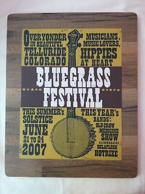 """TIN SIGN /""""Yonder Mountain Poster/""""  Bluegrass String Music Band Rustic Decor"""