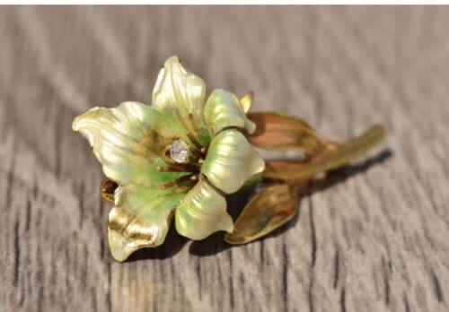 Antique Yellow Gold Enamel Flower Brooch