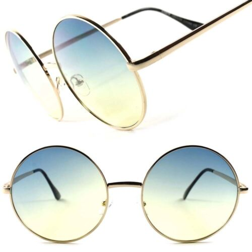 Blue Yellow Two Tone Lens Vintage Retro Oversized Gold Round Womens Sunglasses