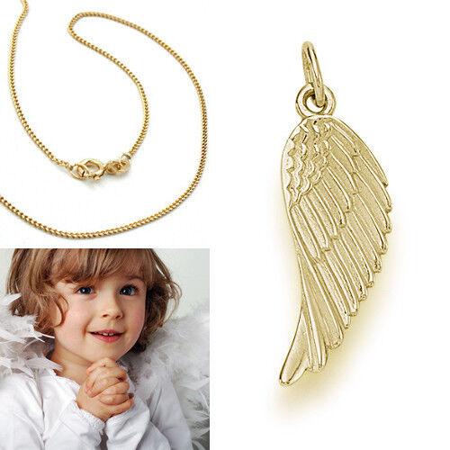 Echt Gold 585 Engelflügel Anhänger Schutzengel Engels Flügel mit Silber Kette
