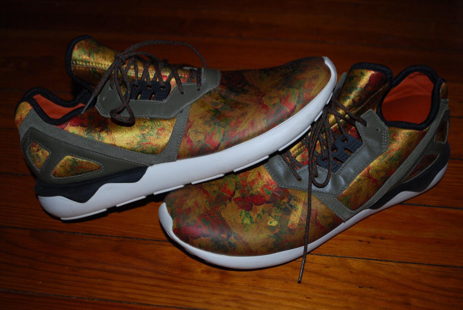 Men's Adidas Tubular Leaf Camo Fox Red Running Sneakers (13)