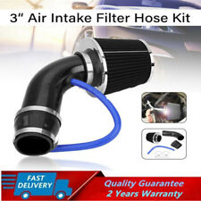 Qiilu Cold Air Intake Kit,Universal Car 3 Carbon Fiber Cold Air Filter Feed Enclosed Intake Induction Pipe Hose Kit