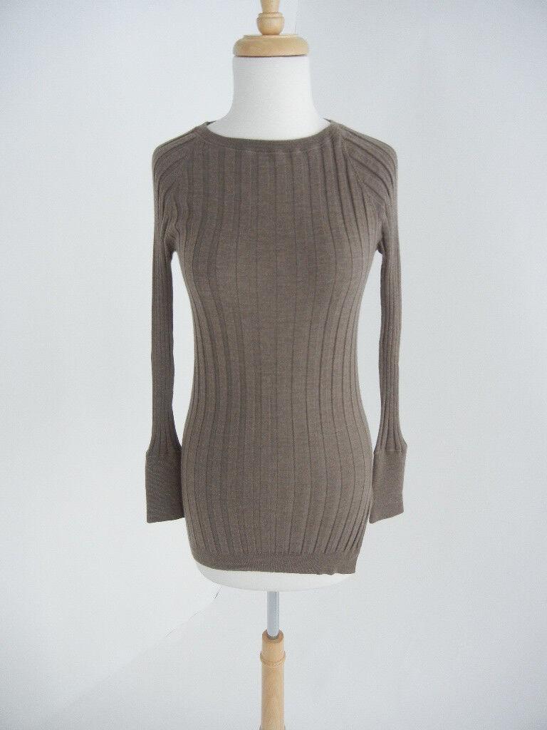 Brunello Brunello Brunello Cucinelli (XS S) Brown Cashmere-Silk Skinny Long Clingy Ribbed Sweater 8b548a
