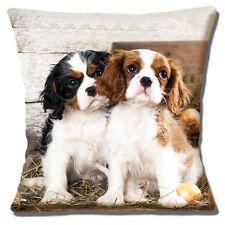 King Charles Cavalier Spaniel Puppies Cushion Cover Black Ruby White Photo Print