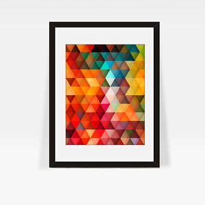 Image Is Loading Modern Geometric Print Colorful Wall Art Poster Home