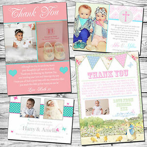 10 Joint Boy Girl Twins Thank You Cards Notes Christening Naming Day