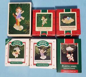 Lot-of-6-Hallmark-DONNA-LEE-ANGELS-1980s-Christmas-Keepsake-Ornaments