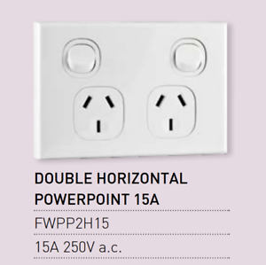 1X Vynco Horizontal PowerPoints Wall Dual Switch Double Outlet 15A 250V FWPP2H15
