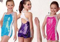 Foil Shorty Unitard 4 Colors Double Camisole Strap Keyhole Back Girls Sizes