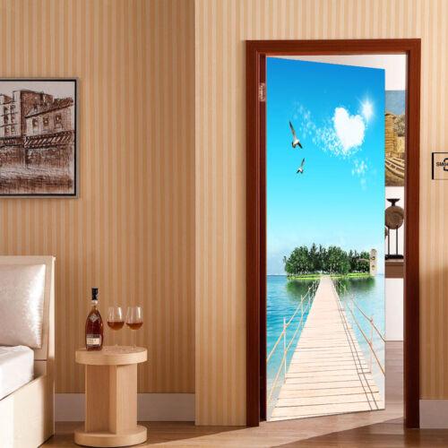 3D Door Wall Art Mural Decals Door Sticker Home DIY Poster Sea View Pattern