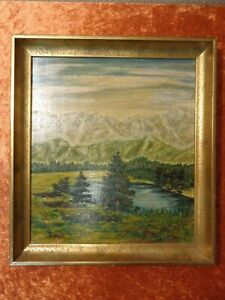 Oil-Painting-Painting-Signed-Hampe-54-Vintage