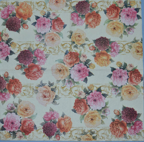 FLOWERS PAPER TABLE NAPKINS FOR CRAFT VINTAGE ROSE LAVENDA DECOUPAGE TEA PARTIES