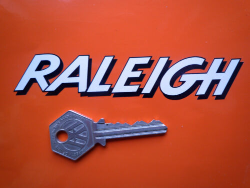 Raleigh texte ombragée style forme autocollants decal 125mm cyclomoteur chopper vélo etc..