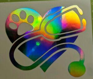 "Holographic Rainbow/""Heart Fishing/"" Vinyl Window Decal free shipping"