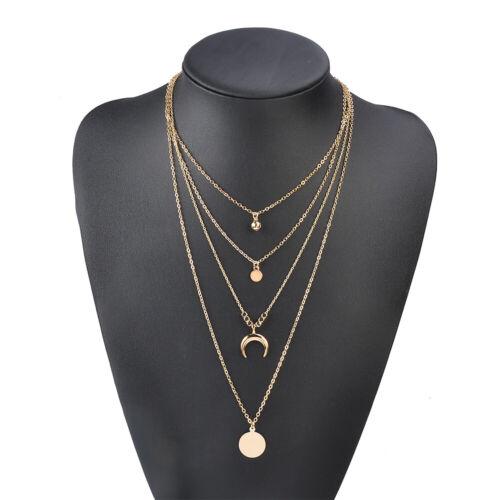 Vintage Multilayer Pendant Women Beads Moon Horn Crescent Choker Necklace Jewel